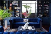 Sapphire Blue Velvet Tufted Sofa with Blue Leather Tufted ...