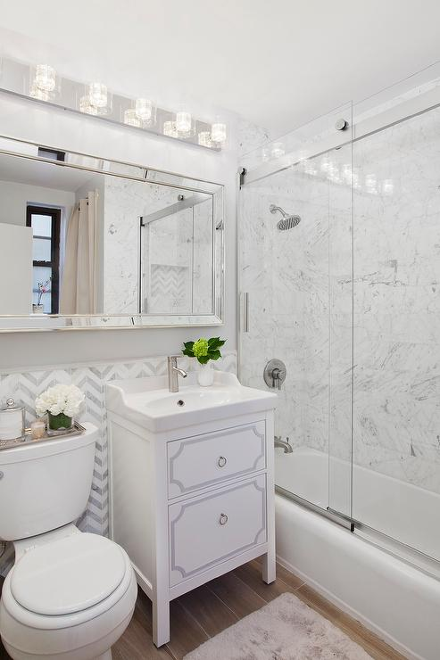 White Single Washstand with Off Centered Sink and Faucet