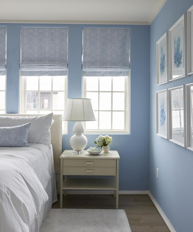 Blue Bedroom With Blue Coral Art Gallery Wall Cottage