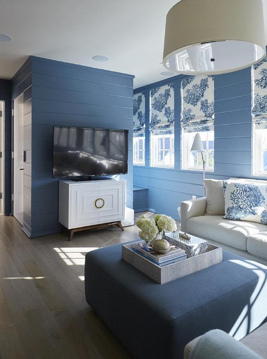 Blue Cottage lIving Room with Light Gray Sofa and Blue