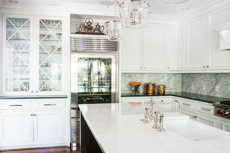Shelf Over Glass Refrigerator  Transitional  Kitchen