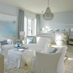 White Slipcover Chair And Ottoman Phoenix Company Blue Bedroom Sitting Area With Gray Beaded Chandelier