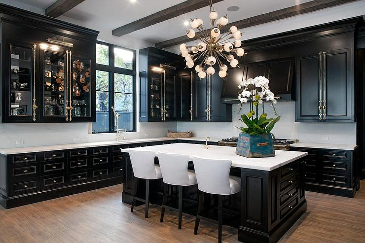 Black Kitchen Cabinets With Brass Cremone Bolts Contemporary Kitchen
