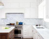 Pacific White Marble Kitchen Countertops Design Ideas