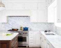 Pacific White Marble Kitchen Countertops Design Ideas