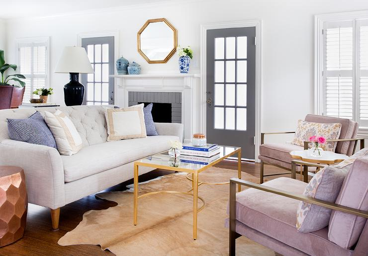 Light Gray Sofa with Pink Chairs and Gold Coffee Table