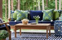 patio furniture with blue cushions