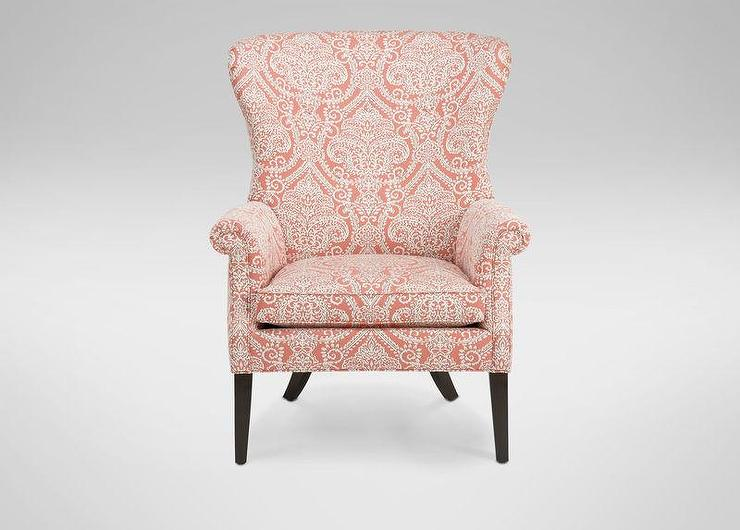 Vintage Pattern Coral Roll Arm Wing Chair