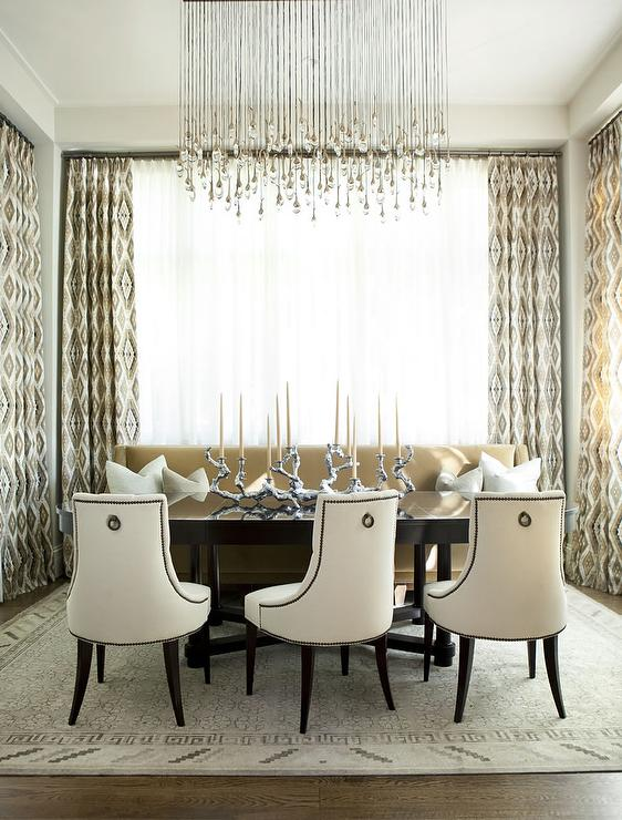 Linear Strand Crystal Chandelier  Transitional  dining