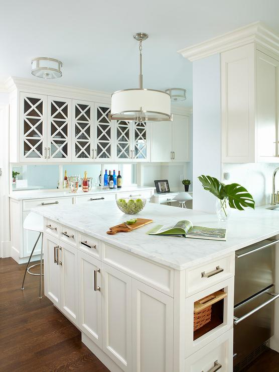 kitchen island with built in seating wayfair glass front china cabinet next to desk ...