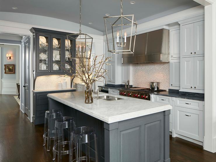 Steel Gray Kitchen Island With Casper Ghost Bar Stools