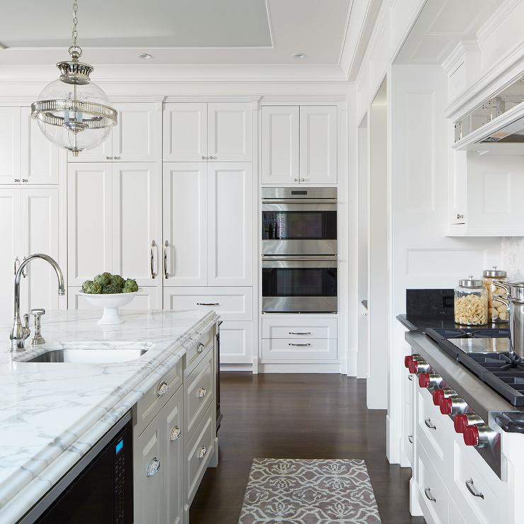 White Kitchen with Gray Tray Ceiling