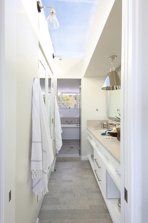 Galley Style Bathroom with Glass Ceiling  Cottage  Bathroom