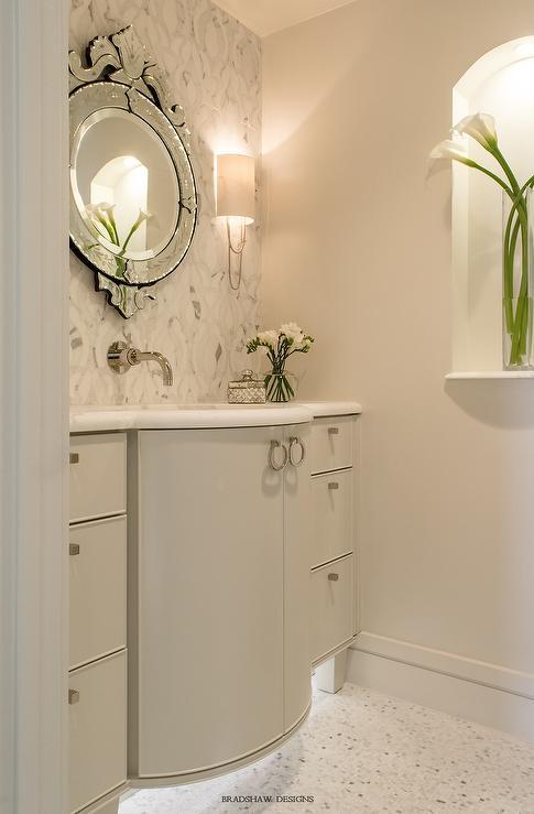 Curved Gray Bath Vanity with Venetian Mirror