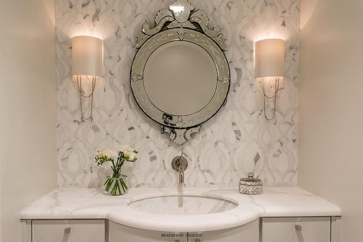 Round Gray Vanity Mirror Design Ideas
