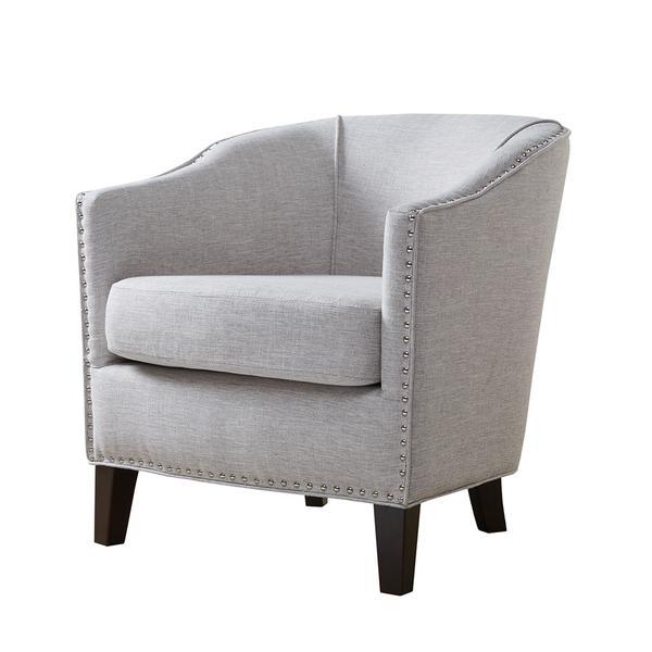 Gray Nailhead Barrel Arm Chair