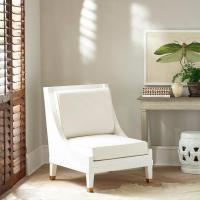 Modern White Swoop Arm Accent Chair