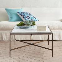 White Square Marble X Base Coffee Table