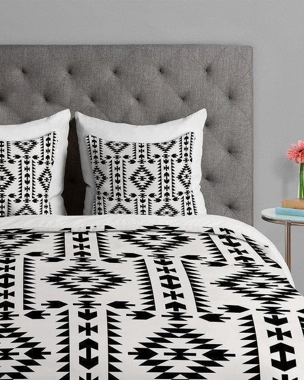 Black And White Geometric Quilt : black, white, geometric, quilt, Tribal, Geometric, Pattern, Black, White, Duvet, Cover