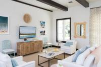 White and Blue Beach Cottage Living Room with Black Wood