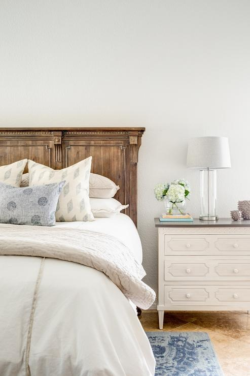 St James Panel Bed with White and Gray Dresser as Nightstand  Transitional  Bedroom  Benjamin