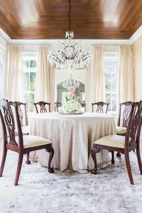 Alyssa Rosenheck Round Silk Tablecloth Dining Table with