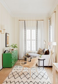 White and Gold living Room with Green Campaign Dresser