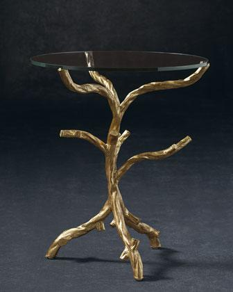 Gold Leaf Glass Tree Branch Base Side Table