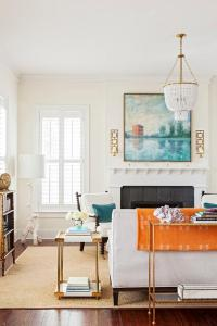 White and Blue Living Room with Orange Accents ...