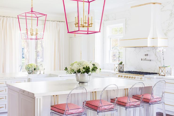 Alyssa Rosenheck White and Pink Kitchen with Pink Lanterns
