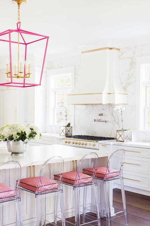 Alyssa Rosenheck White KItchen Island with Pink Lanterns
