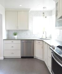 White Kitchen with Gray Plank Porcelain Tile Floor ...