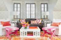 Pink and Gray Living Room with Greek Key Cocktail Table