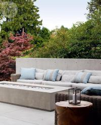 Patio with Concrete Bench and Long Concrete Fire Pit ...