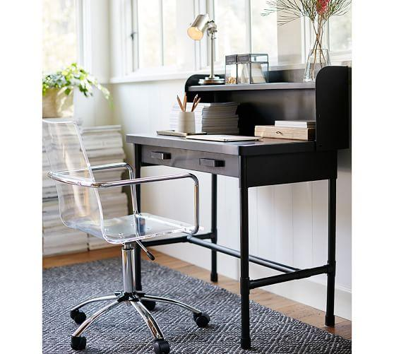 Black Industrial Wood Top Small Desk