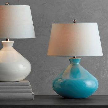 Pale Blue Textured Gourd Lamp