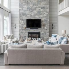 Living Room With Sofa And Two Accent Chairs Curtain Design For 2016 Blue Gray A Story Stone Fireplace