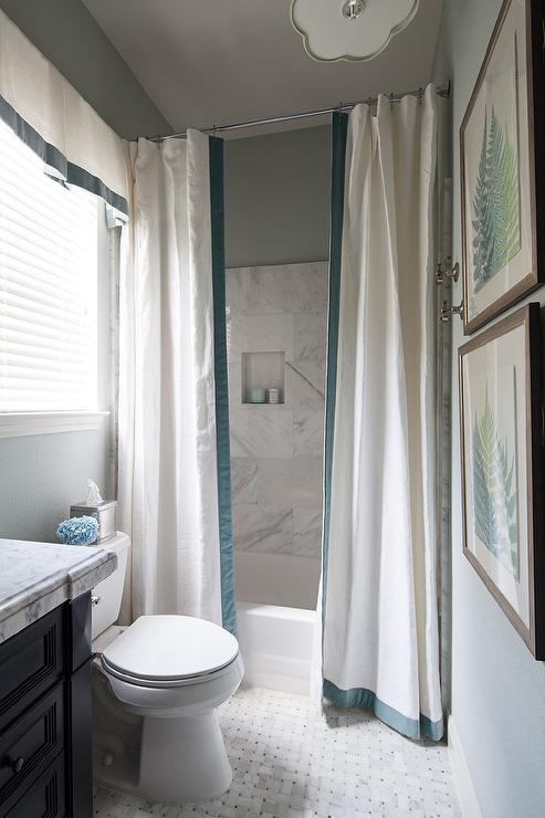 Drop In Shower With Two Curtains Accented Ribbon Trim