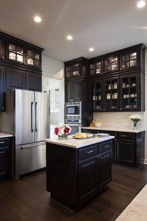 Black KItchen Cabinets with Glass Front Doors That Go All