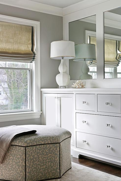 Dressing Room with Built In cabinets Adorned with Glass Knobs  Transitional  Bathroom