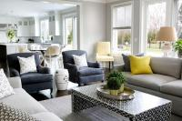 Gray Sofa with Bright Yellow Pillows and Black Waterfall ...