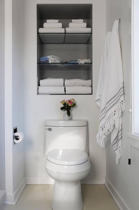 Recessed Shelves Over Toilet  Transitional  Bathroom
