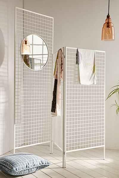 White Layered Lines Screen Room Divider