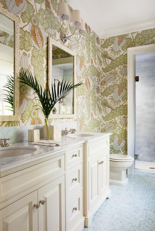 Tropical Bathroom with Carnival Wallpaper and Cream Vanity