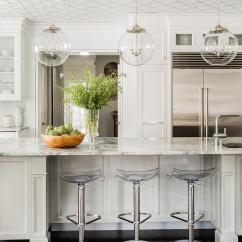 Kitchen Island Stool Lace Curtains White With Regina Andrew Large Globe Pendants And ...