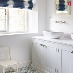 Chair Design Ideas Dining Table Sets Uk White And Blue Bathroom With Indigo Tie Dyed Roman Shade - Transitional