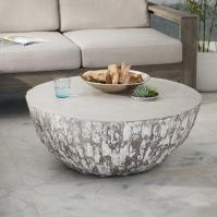 Sunpan Devons Rustic Concrete Grey and Brown Round Coffee ...