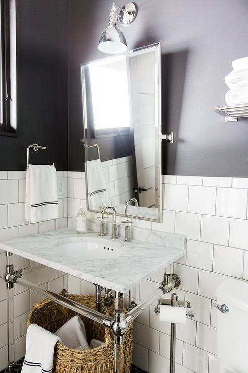 White and Black Bathroom with Restoration Hardware Gramercy Single Glass Washstand