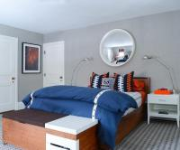 Blue and Orange Boys bedroom with Gray Rug - Contemporary ...
