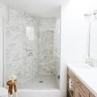 Blue Penny Shower Floor Tiles - Transitional - Bathroom